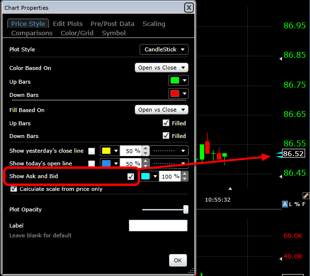 4. Check the box to Show Ask and Bid Markers.