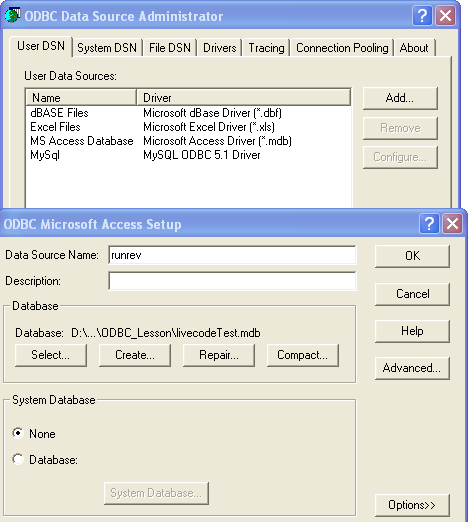 Step 3: Selecting the Database file and Naming it.