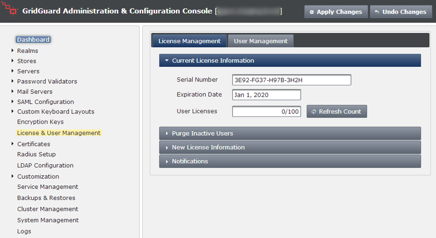 Select the License and User Management Option