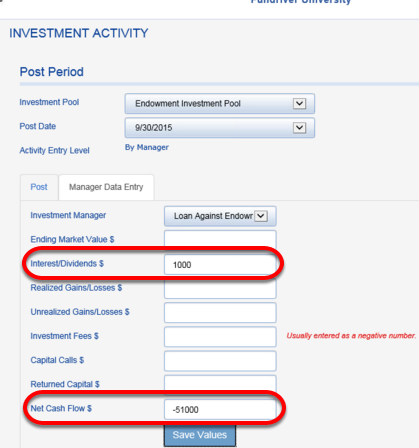 When interest and/or principal payments are received, go back into your LOAN AGAINST ENDOWMENT manager and enter those amounts.  Interest goes in the INTEREST/DIVIDENDS field and payments are entered as negative NET CASH FLOW. The loan outstanding is reduced by the payment.