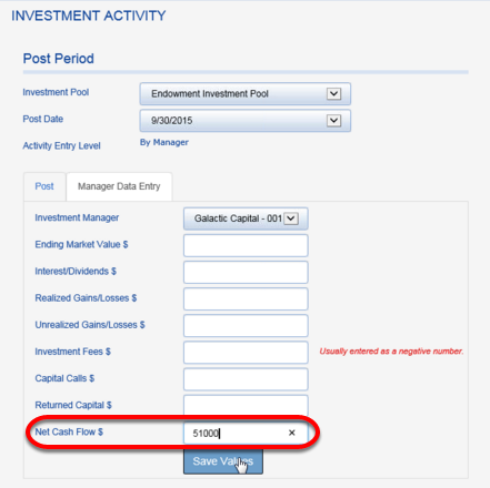 Next, the manager that receives the principal and interest payment from the loan will need to record NET CASH FLOW.  Navigate to that manager.  This payment should be shown as a cash flow within the manager statement. Enter the payment as a positive NET CASH FLOW. Note: This is an illustration for this loan payment's cash impact.