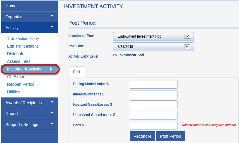 Navigate to the INVESTMENT ACTIVITY screen.