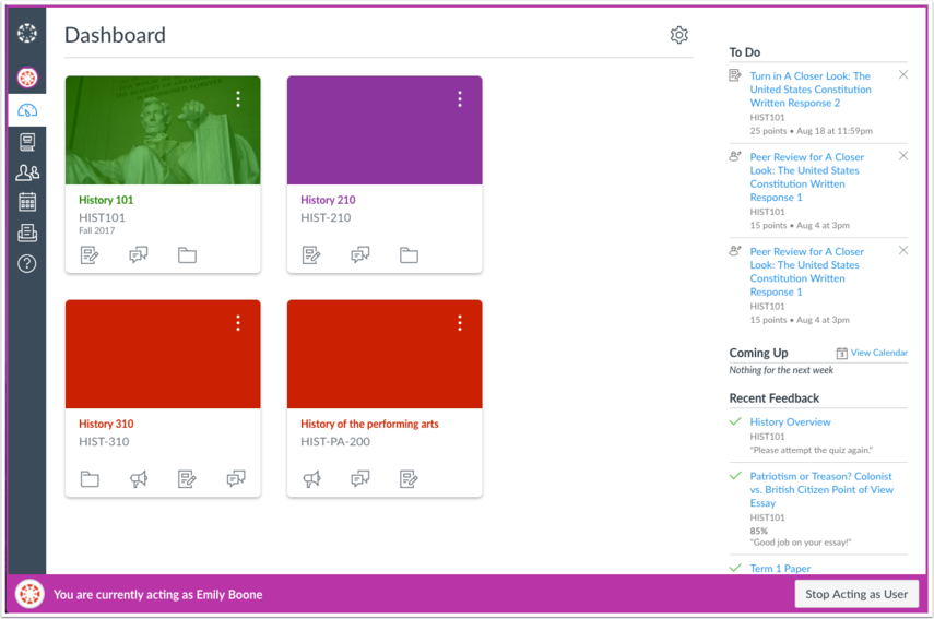 View Canvas as User