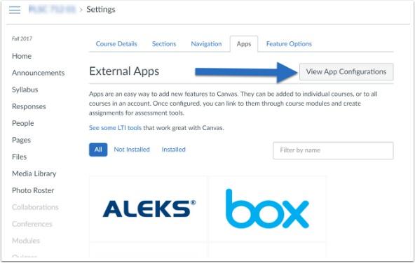 screenshot of view app configurations