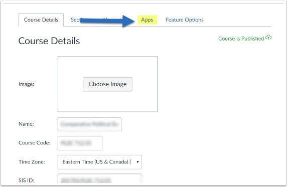 Screenshot of settings area with App tab