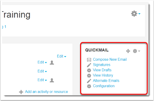 The Quickmail block now displays on your course main page.
