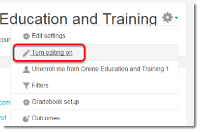 Select Turn editing on.