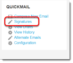 Signatures link is selected.