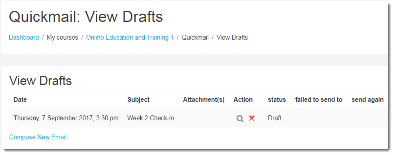 The Quickmail View Drafts page will display.