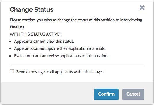 Confirm the change to an open status