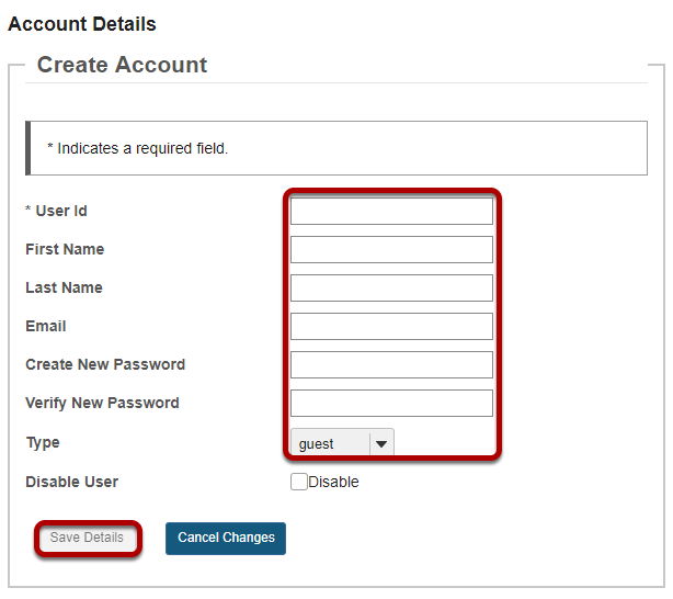 Enter the user information and then save.