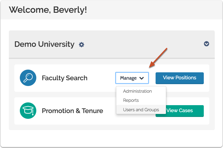 "To access Users & Units, click ""Manage"" on your account dashboard and select ""Users & Groups"""