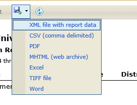 This report can be exported to any of the file formats listed below.