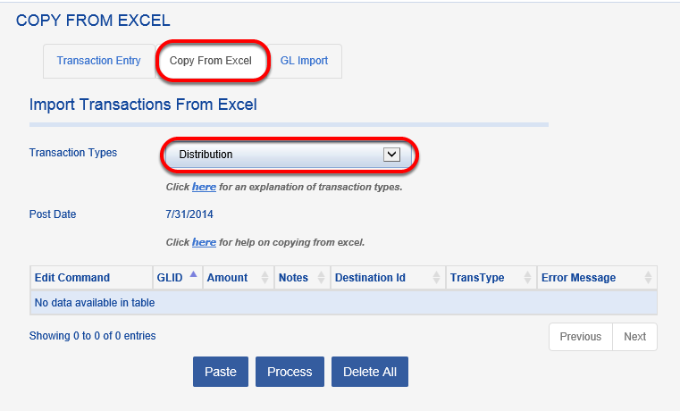 Click on the COPY FROM EXCEL tab and choose the DISTRIBUTION TRANSACTION TYPE.