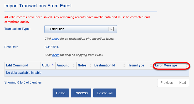 Exceptions that cannot be processed will remain in the table with a corresponding ERROR MESSAGE. A blank table means all records were properly processed.
