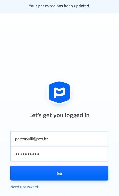 updated password screen