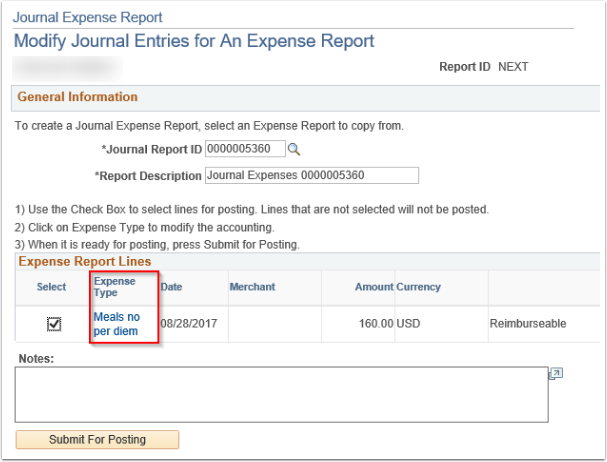 Modify Journal Entries for An Expense Report page