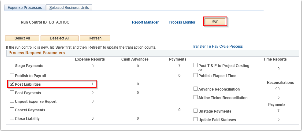 Expense Processes tab