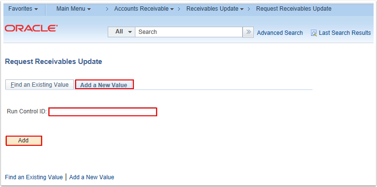 Request Receivables Update Search Page