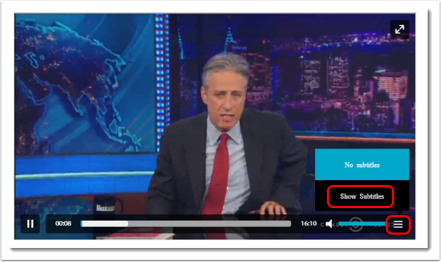 Click on the Hamburger icon to select to show subtitles (captions).