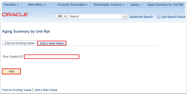 Aging Summary by Unit Rpt Search Page