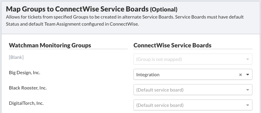 Map Groups to ConnectWise Service Boards