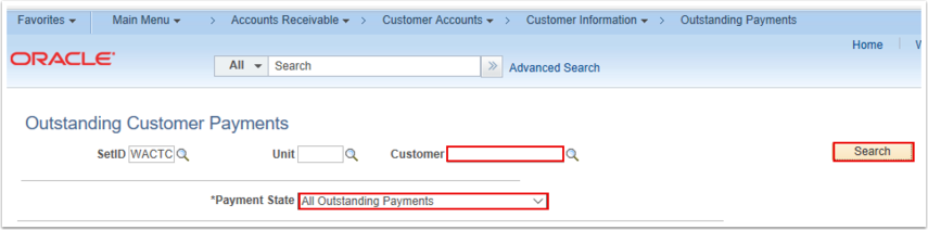 Oustanding Customer Payments Search