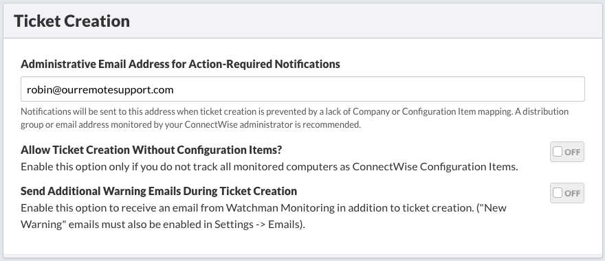 ConnectWise: Ticketing and Asset Tracking Integration – Watchman