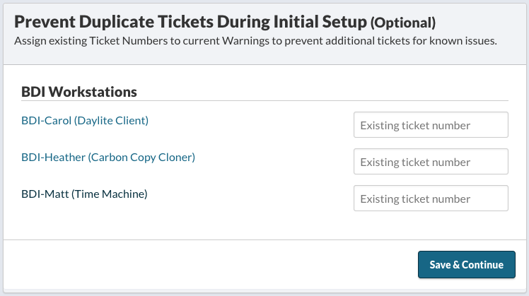 Prevent Duplicate Tickets During Initial Setup