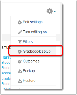 Gradebook setup link is selected.