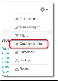 Gradebook setup link is selected.
