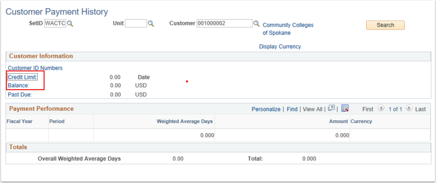 Customer Payment History Page