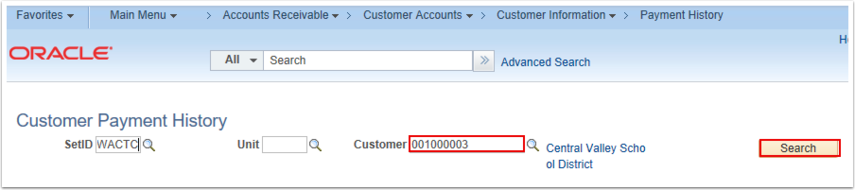 Customer Payment History Search Page