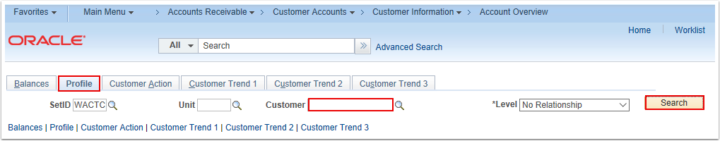 Account Overview Profile Search Page