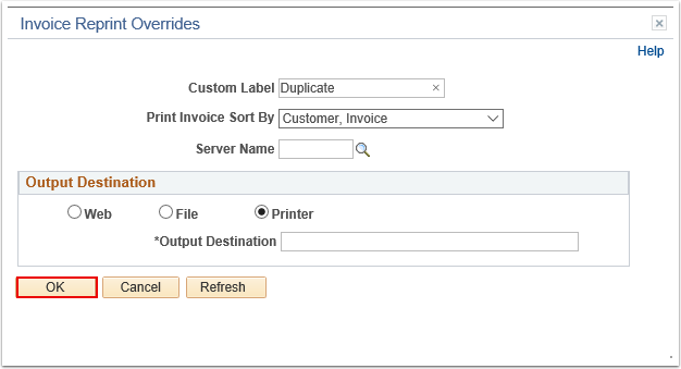 Invoice Reprint Overrides Page