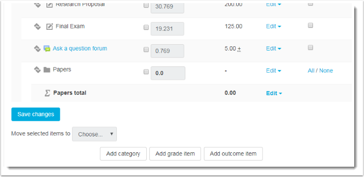 The new category now appears at the bottom of the Gradebook settings page.
