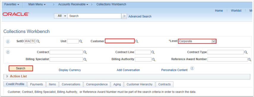 Collections Workbench search page