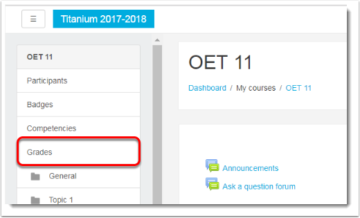 2 Click on Grades in the Nav drawer.