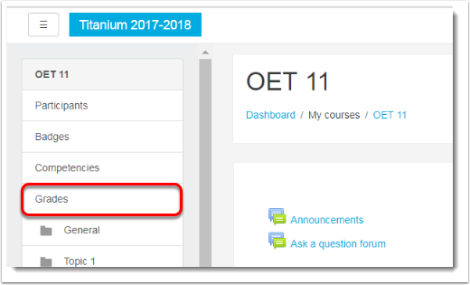 Click on Grades in the Nav drawer.
