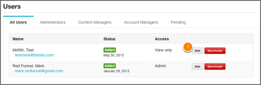 Editing Permissions for an Existing User