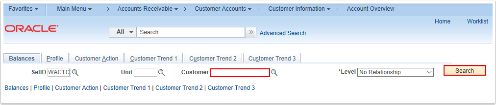 Account Overview Search Page