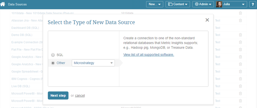 """Select """"Other"""" Data Source Type and choose """"Microstrategy"""" from the drop-down list"""