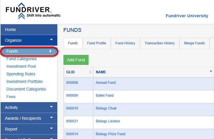 Now you can attach documents to specific funds.  Click on ORGANIZE > FUNDS.