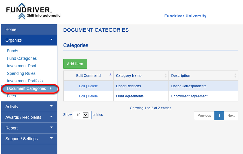 Before you can add documents, you must have at least one DOCUMENT CATEGORY created.  Click on DOCUMENT CATEGORIES.