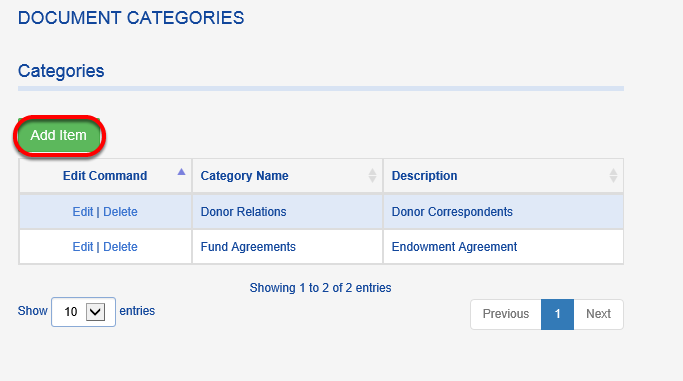 To create a new DOCUMENT CATEGORY, click ADD ITEM.
