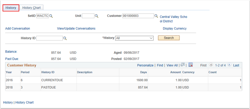 Customer History Results Page