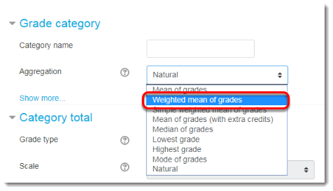 Select Weighted mean of grades from the drop-down menu.