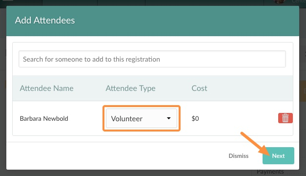 choose the attendee type for new registration
