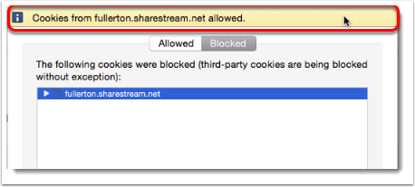 cookies allowed message