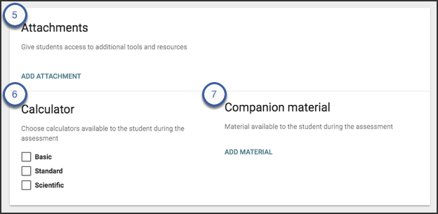 The attachments card allows users to add an attachment, select a calculator, and add companion material.